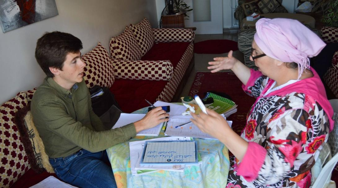A volunteer learning Arabic on one of our language courses abroad.